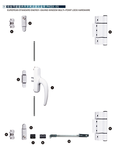 欧标节能窗内平开两点锁五金件PKSX-05