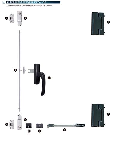 外平开窗两点锁五金件PKSX-09
